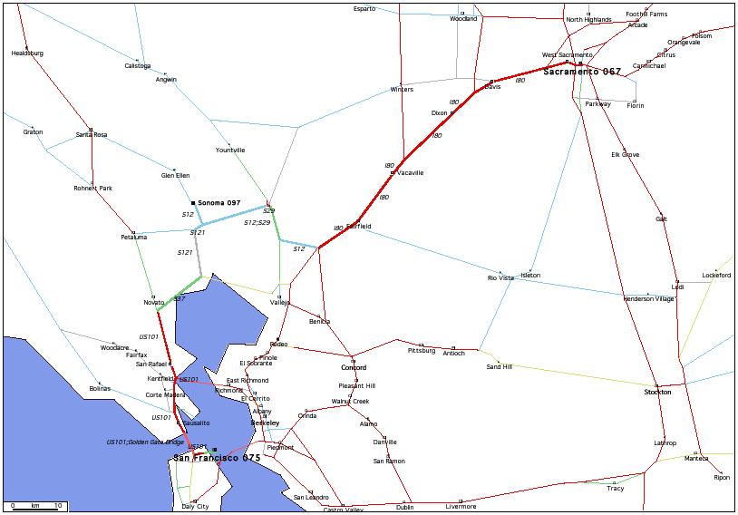 de San Francisco, CA 075 à Sacramento, CA 067 / Distance: 182,10 km