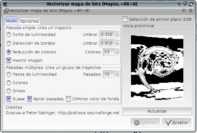 Inkscape: Cuadro de diálogo Vectorizar mapa de bits. Reducción de colores. Colores: 53. Invertir imagen. Suave. Apilar pasadas.