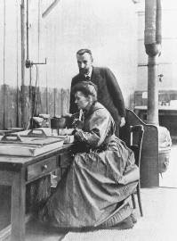 Life: Chemists Pierre Curie and wife Marie Curie in their laboratory