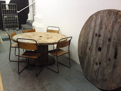 styling and salvage cable drum dining table