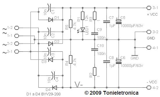 esquema+ fonte Fonte simétrica para amplificadores de áudio de potência placa de circuito impresso Fontes Circuitos Amplificadores