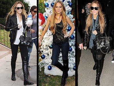 lindsay lohan skinny again. Lindsay Lohan black boots