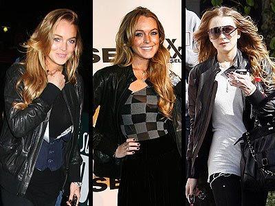 lindsay lohan skinny jeans. Lindsay Lohan black leather