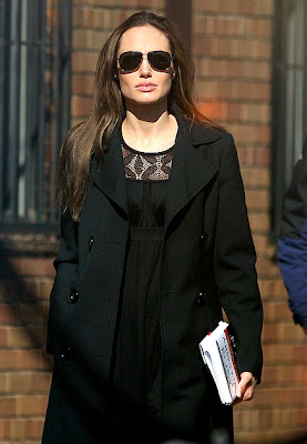 Angelina Jolie was seen back on the set of SALT today in New York