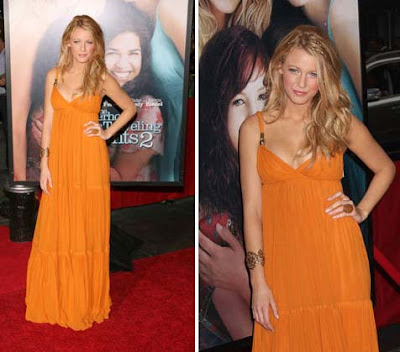 Blake Lively Outfit on Blake Lively Orange Dress Premiere Gossip Girl Serena Orange Dress