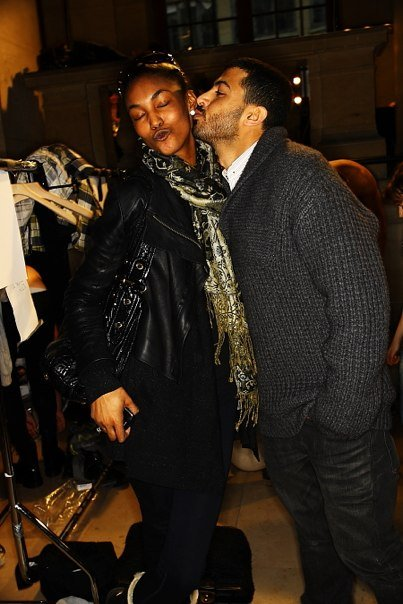 Khalid AlQasimi kissing friend at the Qasimi autumn winter menswear show 2010