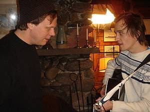 Dan In Real Life director Peter Hedges and Sondre jamming in between scenes on set in Newport, Rhode Island, December 2006.