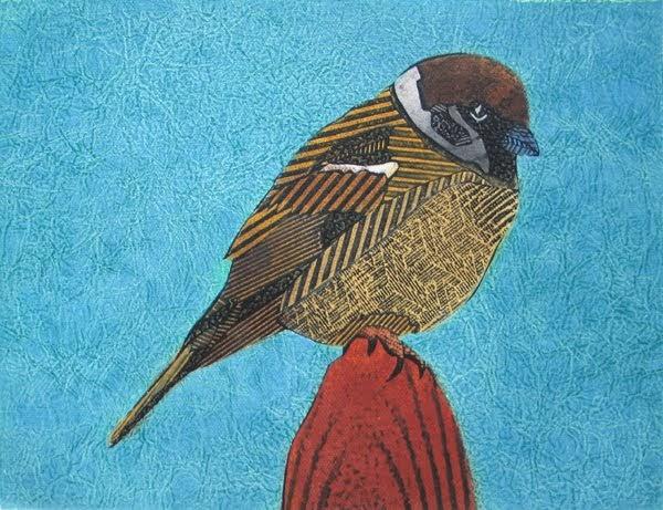 bonnie murray prints  tree sparrow  art  printmaking