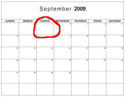 2009 september calendar. It#39;s 1 September.