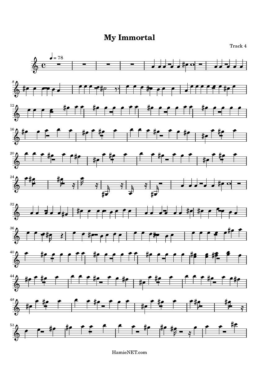 hello evanescence partitura: