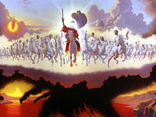 Our Savior god Jesus Christ second coming from the clouds of sky on horse free religious pictures of Jesus Christ and desktop backgrounds for Christians