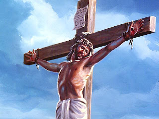 Crucified drawing photo of Jesus Christ on the wooden Cross in sky background free download