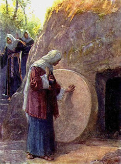 woman looking at Empty tomb of Jesus, drawing art photo free download Christian pictures