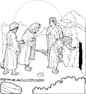 woman and people looking at empty tomb of Jesus, coloring page picture for children download free Christian clip art images