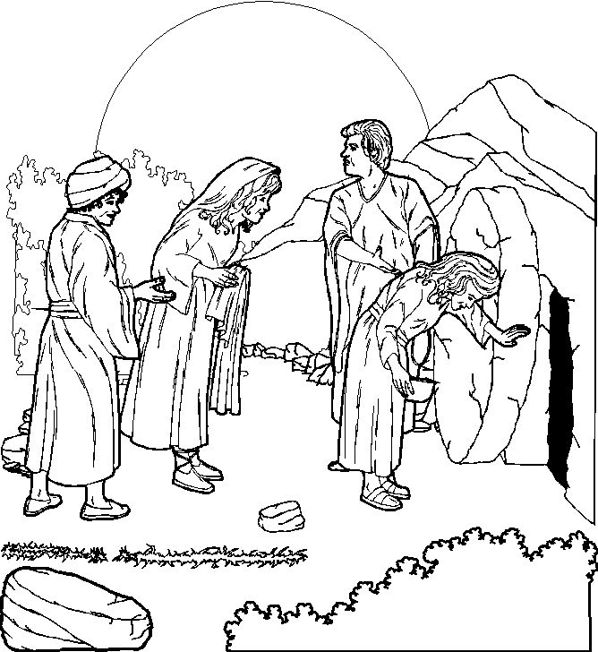 and people looking at empty tomb of Jesus, coloring page for children title=