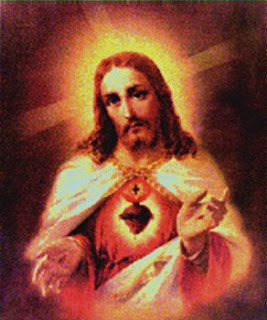 old drawing image of sacred heart of Jesus