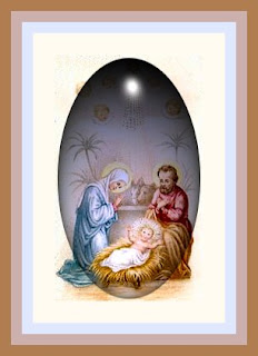 Nativity scene of baby Jesus in manger with Mother Mary and Joseph drawing art image