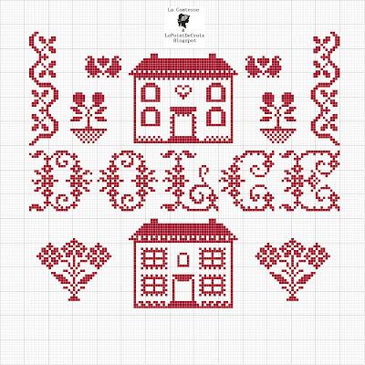 La comtesse le point de croix casa dolce casa for Registro casa schemi