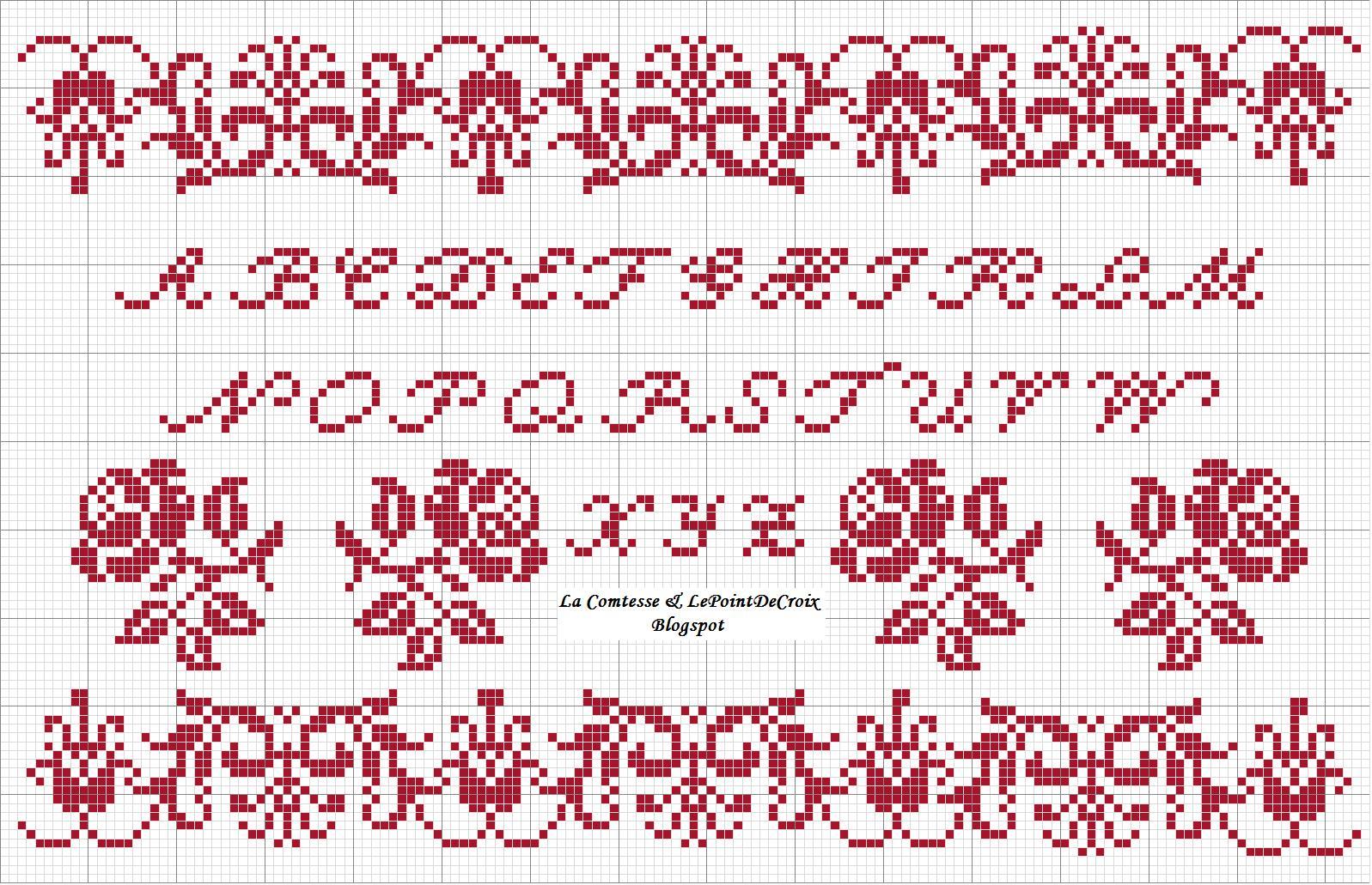 La comtesse le point de croix alfabeto rose for Sognare asciugamani