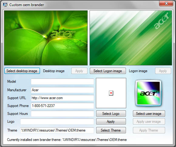 how to change oem logo in windows 7