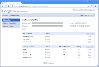 Google Sitemap Generator screenshot of the admin console