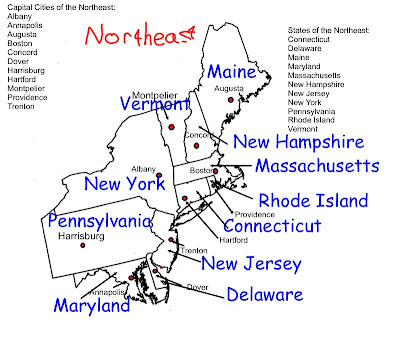 Northeastern States Map With Capitals Mr. o'brien's 4th grade blog ...