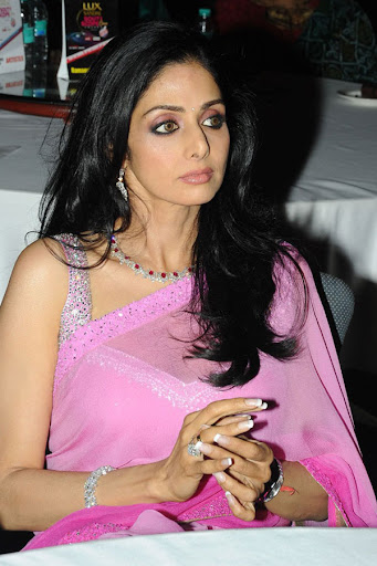 Indian Actress Sridevi Kapoor Looking Gorgeous in Pink Designer Saree at an Event