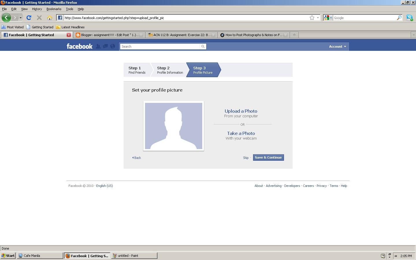 assignment about facebook