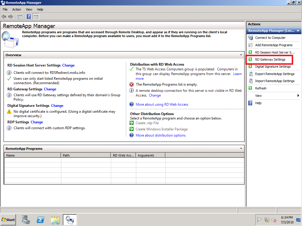 Hyper vsystem center and azure november 2010 open remote app manager by clicking start administrative tools remote desktop service remote app manager 3 on the action pane click rd gateway xflitez Gallery