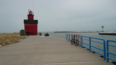 Big Red lighthouse on Holland's pier