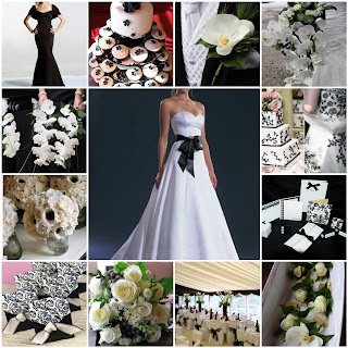 wedding mood board in black and white