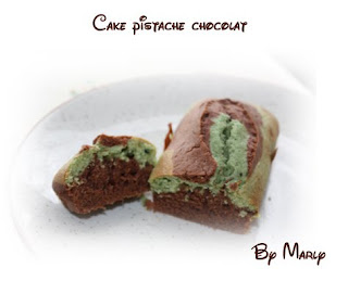 recettes dessert  Cake marbr chocolat blanc / pistache