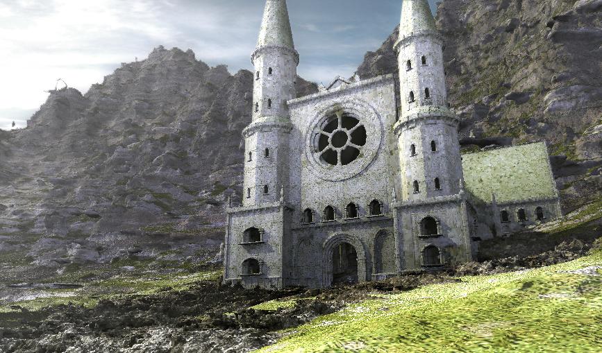 Rendered L-system church