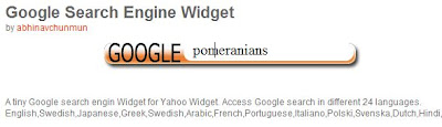 Google Search Engine Yahoo Widget