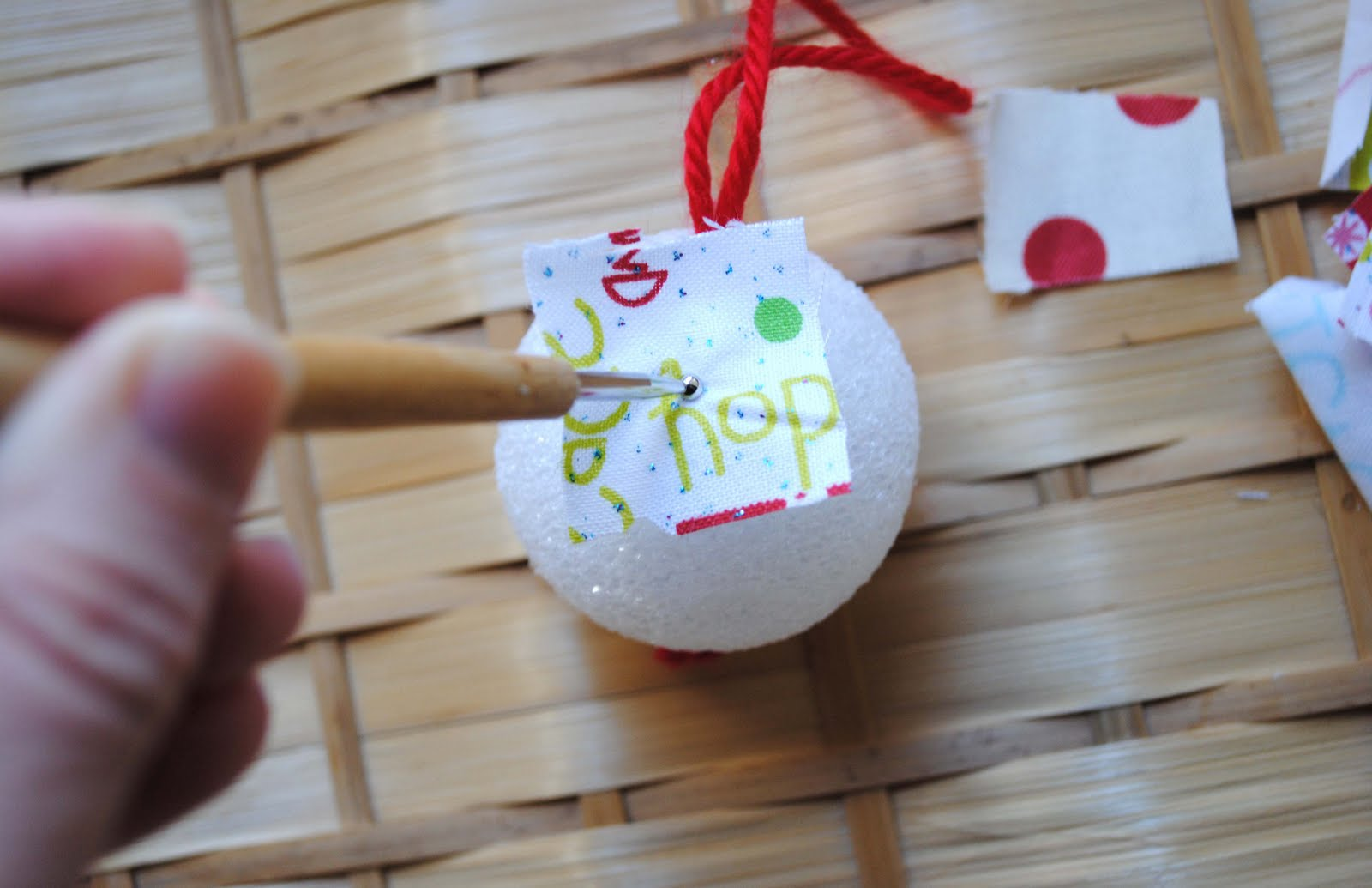 Zakka life kid craft fabric scrap ornaments for Crafts with styrofoam balls for kids