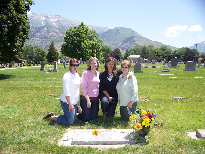 Mom and Sisters at Grandma & Grampa Warburton Grave site in Pleasant Grove, Utah