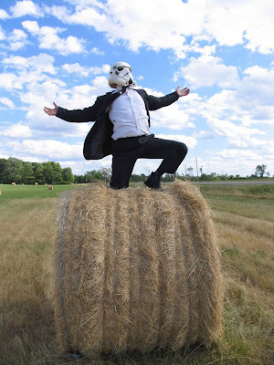 Stormtrooper in Suit, on a Bale of Hay
