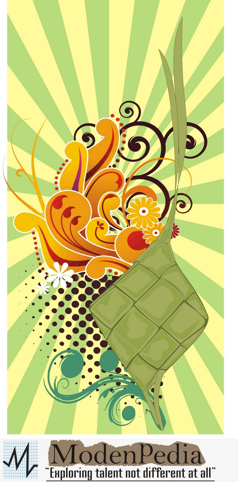 Ketupat Floral (Vector Download) - Modenpedia