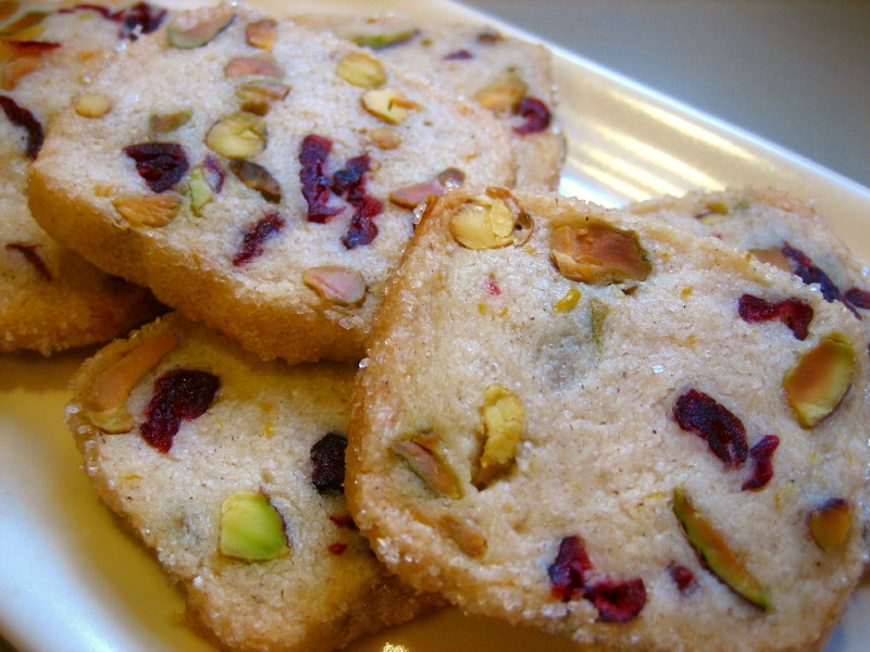 Pistachio Cranberry Icebox Cookies Recipe — Dishmaps