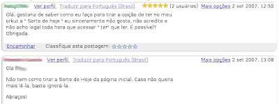 remover sorte de hoje do orkut