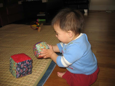 Baby Ira of Portland, Oregon, digs his blocks.