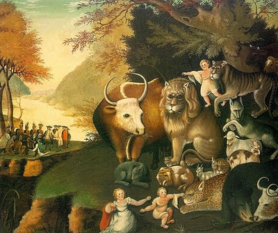 Edward Hicks, The Peaceable Kingdom.  It's pretty unlikely that Hicks, a Quaker, would have bought into the more bellicose aspects of today's section of Isaiah, but this painting