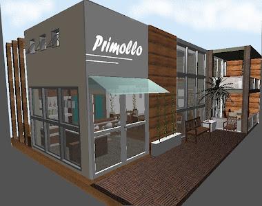 Fachada de madeira e deck modular