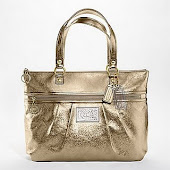 Coach Poppy Gold Leather Glam Tote 15286