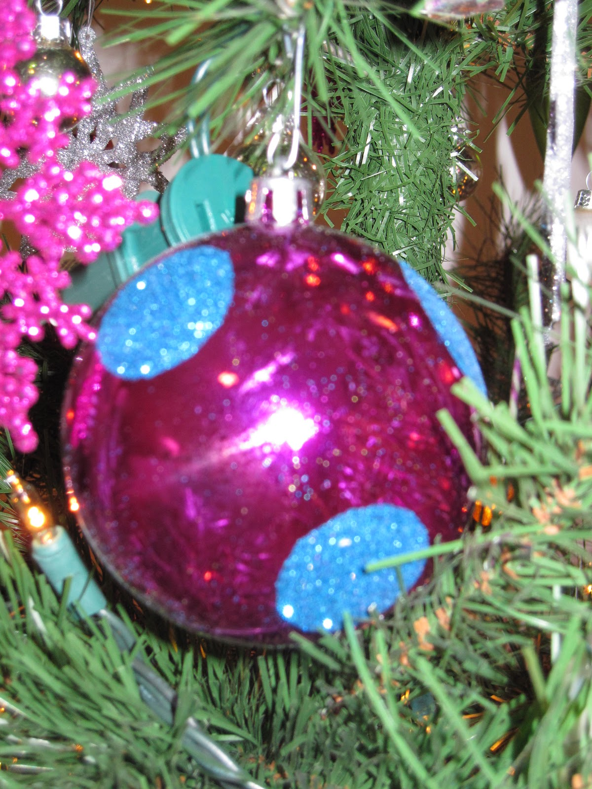 here are a few pictures of one non traditional tree no red or gold for this tree its all pink lime green blue orange polka dots and strips and full of - Lime Green And Blue Christmas Decorations