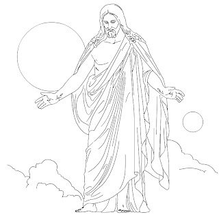 Jesus Christ ascension(raised) coloring page in clouds of sky sized hd(hq) wallpaper for Christians and kids download for free