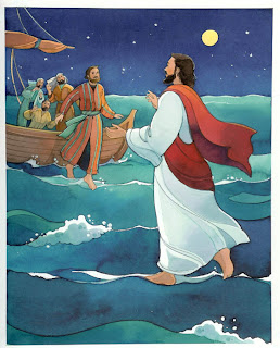 Peter asking help to the God Jesus Christ for saving him color drawing art free christian religious clipart(clip art) picture