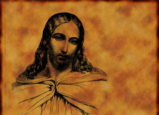 Jesus Christ color drawing art picture with Christian yellow myspace background layout