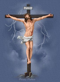 Jesus Christ nailed on wooden cross drawing art free Christian photo