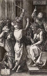 Jesus Christ getting nailed and with crown of thorns by warriors black and white drawing art picture